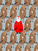 Santa Claus with reindeer seamless pattern Vector background of