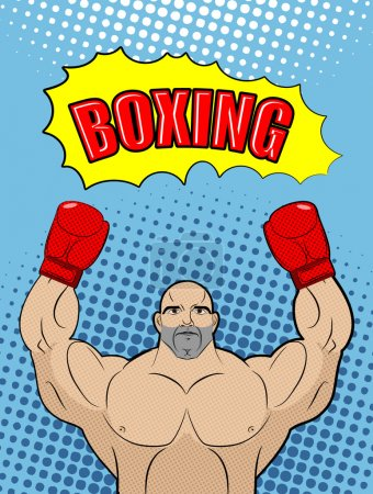 Boxing champion  style of pop art with the babble box. Athlete r