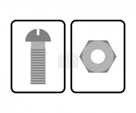 Man and Woman restroom sign. Toilet sign bolt and nut. Humorous