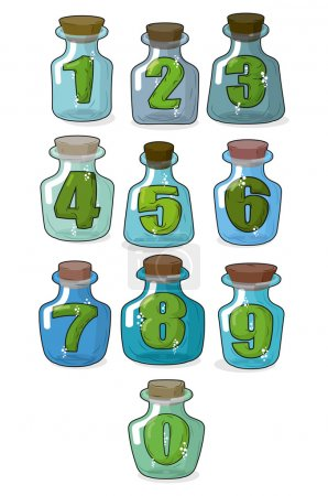 Figures in a retro bottle laboratory for experimentation and res