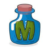 M in bottle Green letter in blue glass jar Magic potion bottle