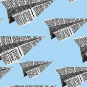 Paper planes seamless pattern on a blue background Vector ornam
