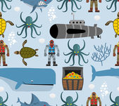 Ocean seamless pattern Marine life: whale and turtle Octopus and submarine Shark and diver Vector background fabric on marine theme