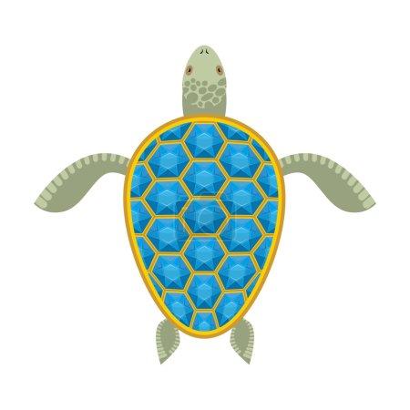Water turtle Sapphire carapace. Marine animal with precious ston