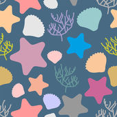 Marine seamless pattern Colored silhouettes of marine life Sca