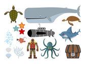 Underwater world set Keith and submarine shark and terrible Oc