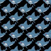 Shark seamless pattern Many angry ferocious marine animals Ve