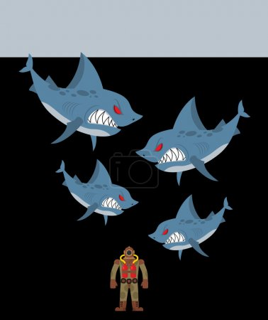 Diver is surrounded by sharks. Underwater abyss and evil sharks