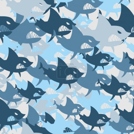 Shark military seamless pattern. Army background of fish. Soldie