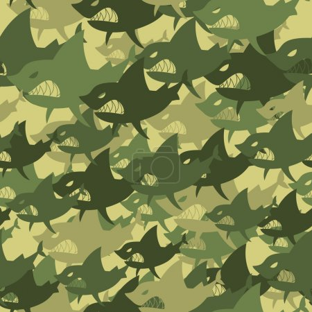 Military texture shark. Soldiers protective camouflage fish. Sea