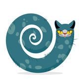Snake cat Fantastic mythical pet Cute dreamlike beast Head ca