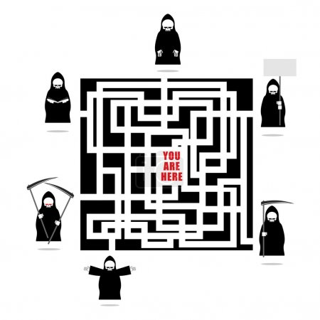 Labyrinth of life. Life ends with death. In any outlet waiting f