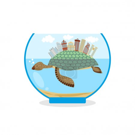 Mini city on shell of turtle. Micro ecosystem in an aquarium. Sk