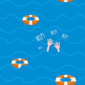 Man drowns  seamless pattern Lifebuoy on waves of sea Texture