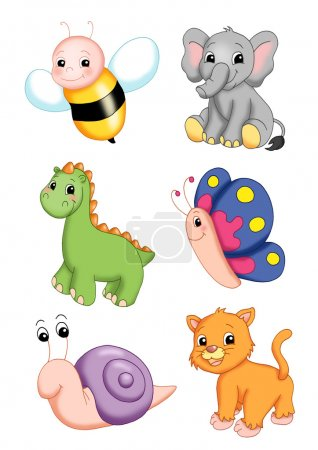 Photo for Colored illustration of various animals - Royalty Free Image