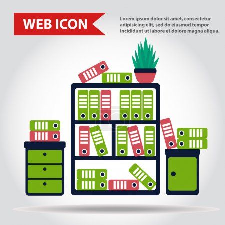 Office furniture set. Case, box with folders and plant, web icon, vector.
