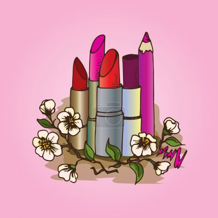Illustration of cosmetics. Pencils and lipsticks for make-up.