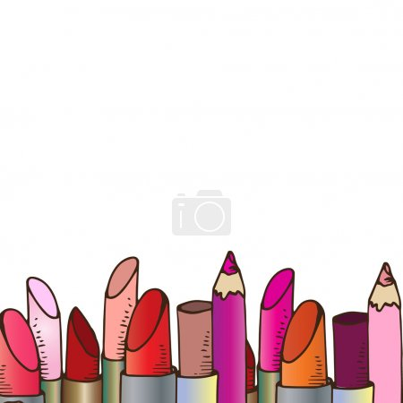 Illustration of cosmetics. Pencils and lipsticks for make-up. Background.
