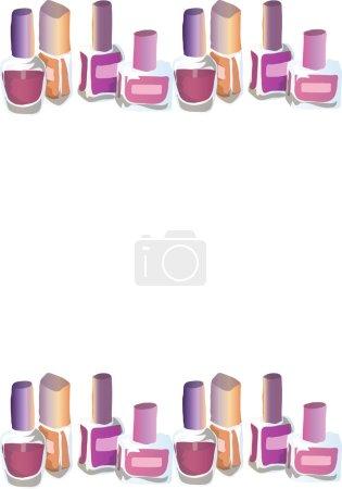 Illustration of cosmetics. Nail polishes. Seamless pattern. Background.