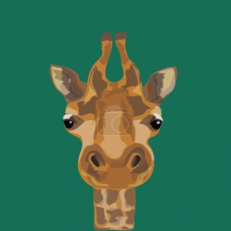 Illustration of a giraffe. The head of the giraffes.