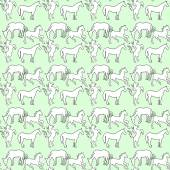 Illustration of the horse Seamless pattern White mustangs on a  blue background