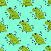 Illustration green frog with butterflies background Seamless pattern