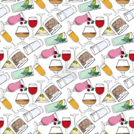 Illustration pour Illustration de boissons alcoolisées et non alcoolisées. Boissons au bar. Modèle sans couture - image libre de droit