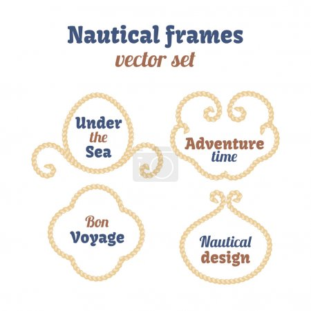 Nautical frames set. Ropes swirls. Decorative vector knots. Ornamental decor elements with rope. Isolated design.