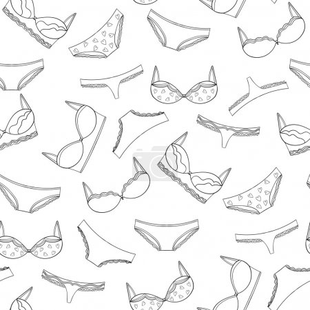 Seamless lingeries pattern. Vector bras and panties design.