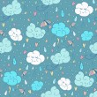 Vector seamless rain theme pattern. Colorful doodling autumn design. Endless background with hand drawn clouds, rain drops, umbrella and hearts.