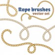 Rope brushes set. Decorative vector knots for your designs