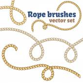 Rope brushes set Decorative vector knots for your designs
