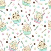 Cute seamless frozen yogurt pattern Sweet cold desserts vector design
