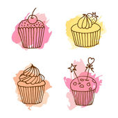 Vector cupcake illustration Set of 4 hand drawn cupcakes with colorful splashes