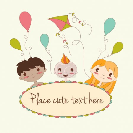 Vector illustration of happy kids  peeping behind oval frame. Cute cartoon card with place for text.
