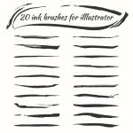 Vector ink brushes set. Grunge brush strokes collection. Brushes for illustrator