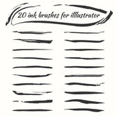 Vector ink brushes set Grunge brush strokes collection for illustrator