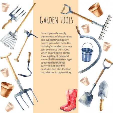 Watercolor garden tools.