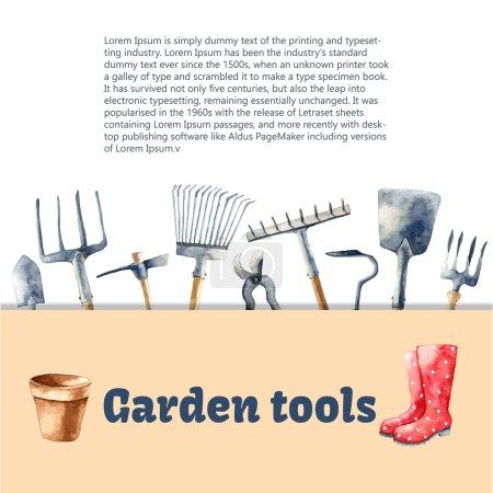 Watercolor garden tools.