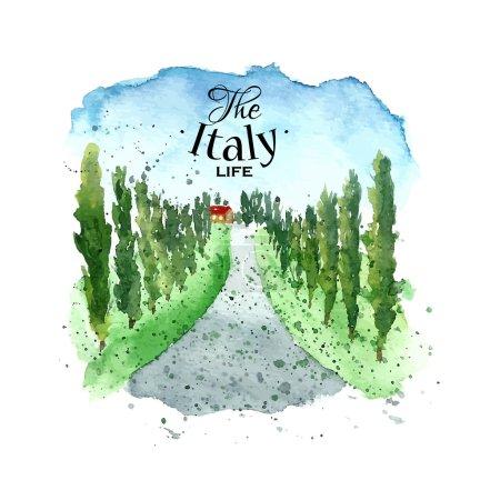 Watercolor Italy landscape.