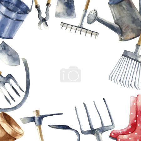 Watercolor garden tools set.
