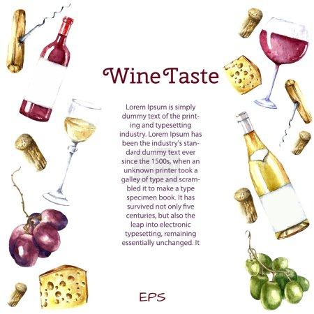Illustration pour Éléments de conception de vin aquarelle : verre à vin, bouteille de vin, fromages, tire-bouchon, liège, raisin. Illustration vectorielle . - image libre de droit