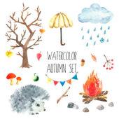 Watercolor autumn set