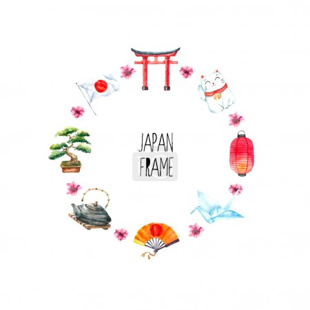 Illustration for Watercolor Japanese frame. Round frame with hand draw Japanese objects:Torii gate,origami bird,Japan flag,lacky cat,Japanese lantern, bonsai tree. - Royalty Free Image