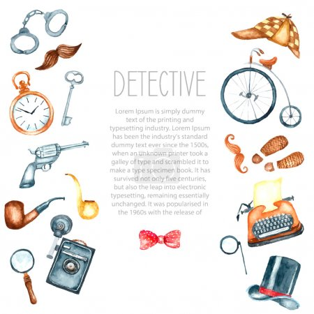 Illustration for Watercolor retro detective accessories. Hand draw illustration for your design with place for text. - Royalty Free Image