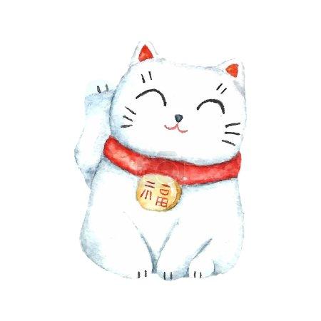 Photo pour Aquarelle Maneki neko. Dessiner à la main chat chanceux japonais. Illustrations vectorielles . - image libre de droit