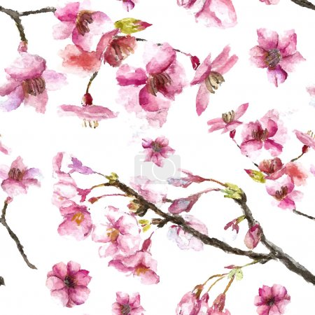 Illustration for Watercolor oriental pattern with sakura branch. Seamless oriental texture with isolated hand drawn cherry blossom. Asian natural background in vector - Royalty Free Image