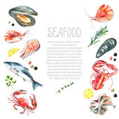 Set of seafood watercolor