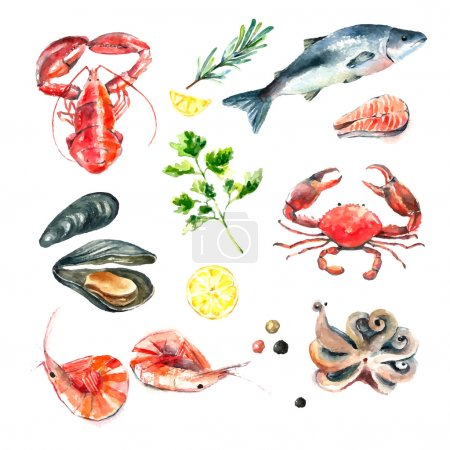 Illustration for Watercolor set of seafood.Hand draw isolated illustration on white background:lobster,crab,shrimp,octopus,mussel,salmon with herbs,lemon and peppers.Fresh organic food. - Royalty Free Image