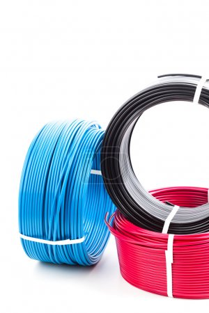 set of colored electric cables